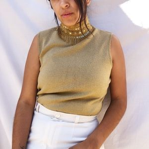 Beautiful beaded sequins gold turtle neck top